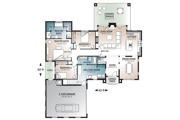 Mediterranean House Plan - Millport 31614 - 1st Floor Plan