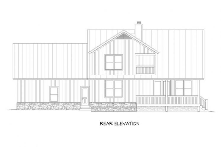 Traditional House Plan -  31769 - Rear Exterior