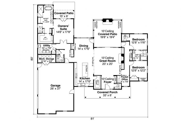Modern House Plan - Boulderfield 32005 - 1st Floor Plan