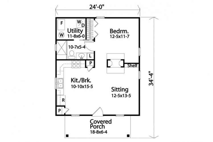 Bungalow House Plan -  32464 - 1st Floor Plan