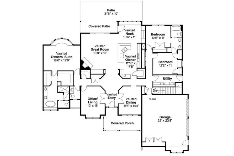 Ranch House Plan - Rainier 32681 - 1st Floor Plan