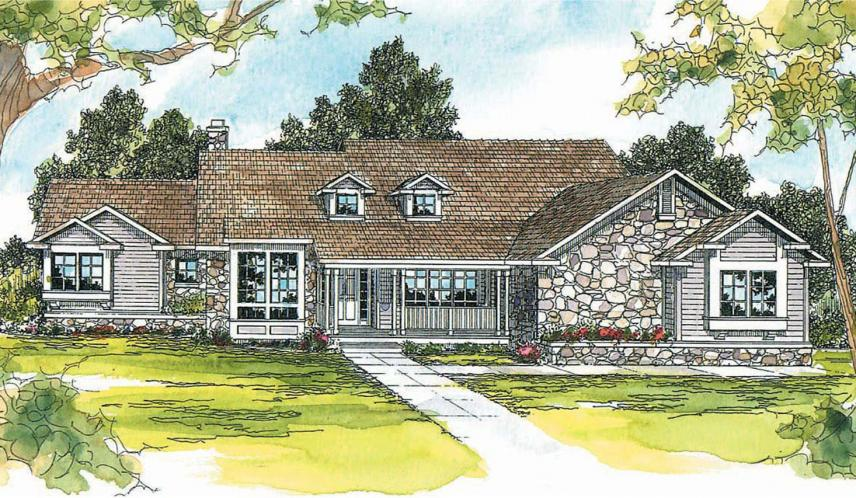 Ranch House Plan - Rainier 32681 - Front Exterior