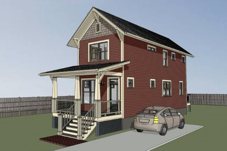 Traditional House Plan -  32689 - Right Exterior