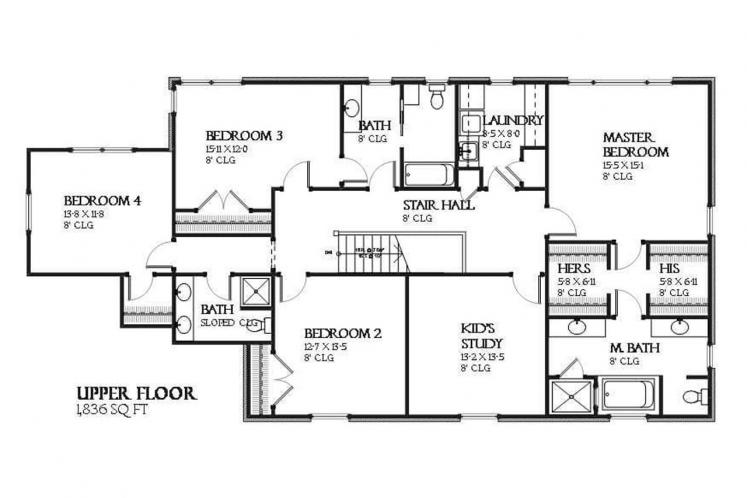 Colonial House Plan - Bonnell 32758 - 2nd Floor Plan