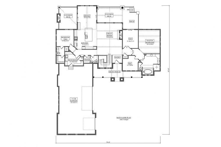 Craftsman House Plan - Catalina Ridge 32773 - 1st Floor Plan