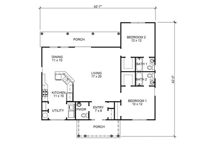 Cottage House Plan - Carrington 32808 - 1st Floor Plan