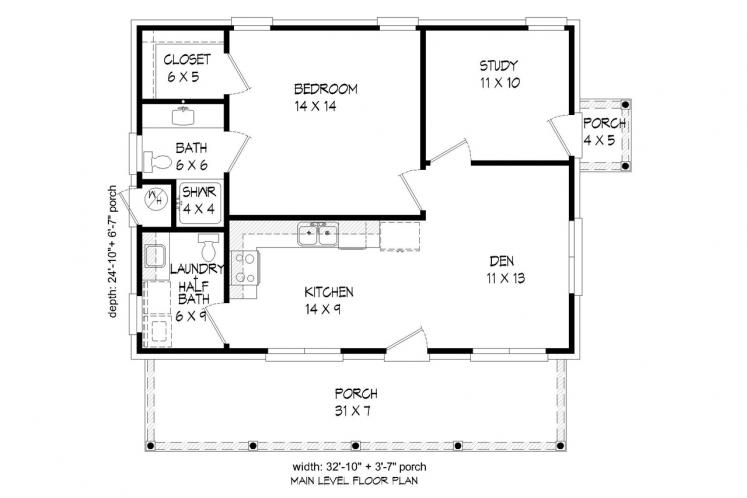 Country House Plan -  32923 - 1st Floor Plan