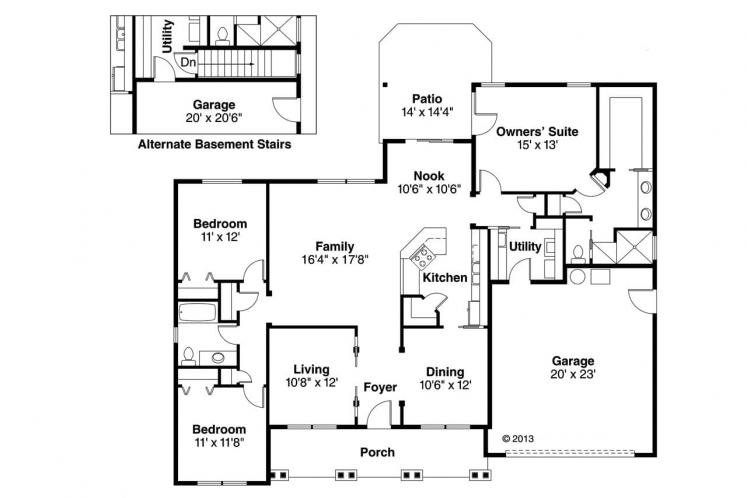 Ranch House Plan - Adrian 33046 - 1st Floor Plan