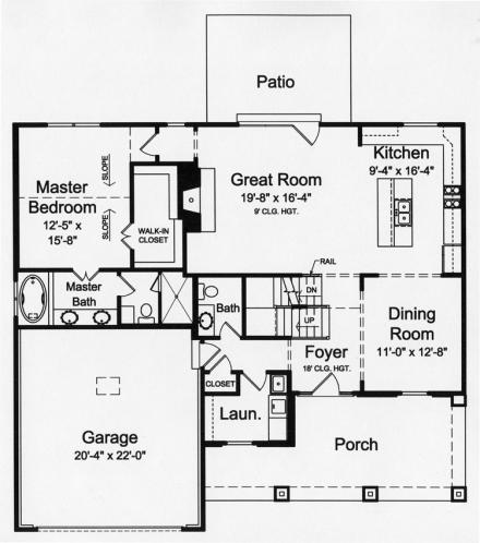 Cape Cod House Plan - The Soltaire 33224 - 1st Floor Plan
