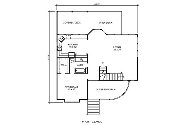 Cottage House Plan - Fentress 33354 - 1st Floor Plan