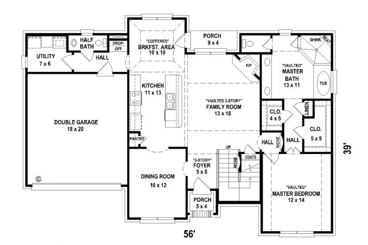 Country House Plan -  33358 - 1st Floor Plan