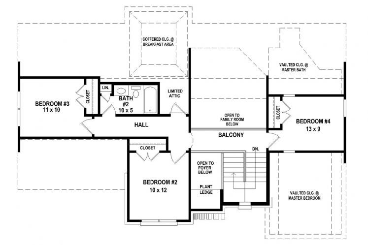 Southern House Plan -  33358 - 2nd Floor Plan