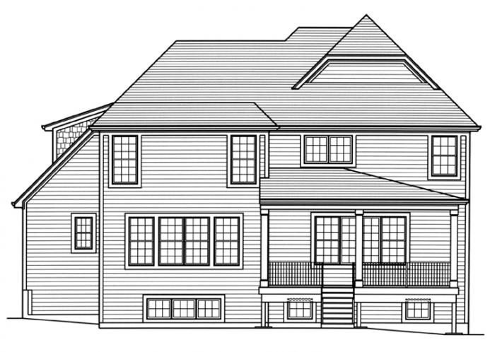 European House Plan - The Applewood 33488 - Rear Exterior
