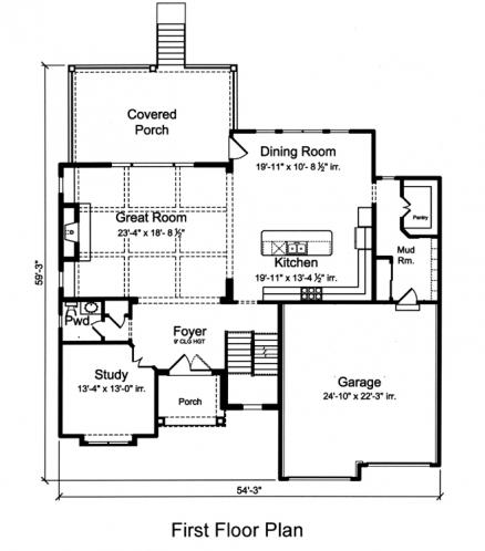 European House Plan - The Applewood 33488 - 1st Floor Plan