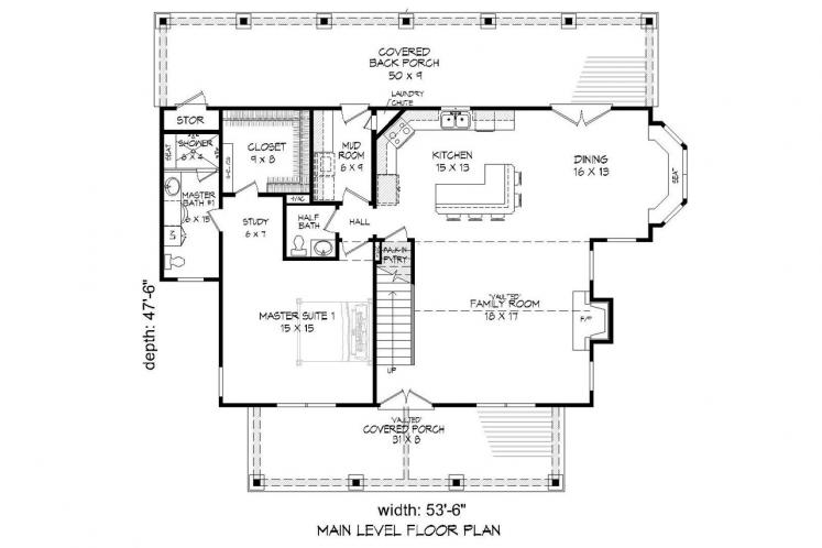 Craftsman House Plan -  33508 - 1st Floor Plan