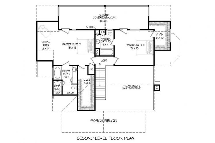 Cottage House Plan -  33508 - 2nd Floor Plan