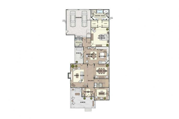 Cottage House Plan - Villa Sienna 33902 - 1st Floor Plan