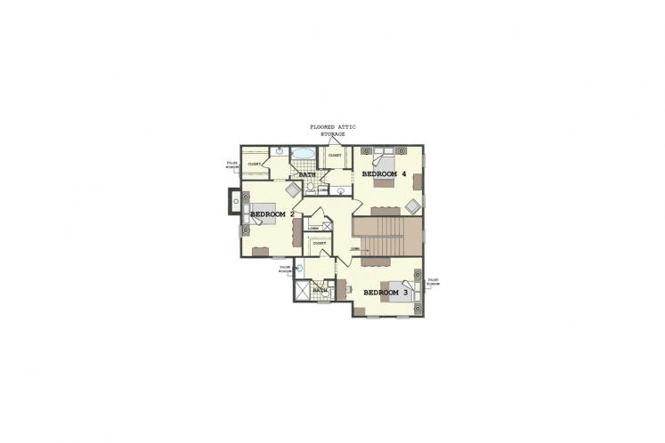 Colonial House Plan - Villa Sienna 33902 - 2nd Floor Plan