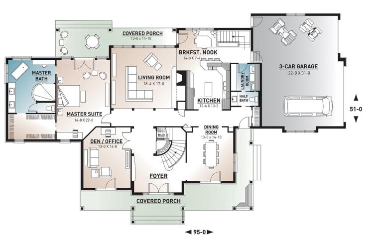 Traditional House Plan - Carmel 34173 - 1st Floor Plan