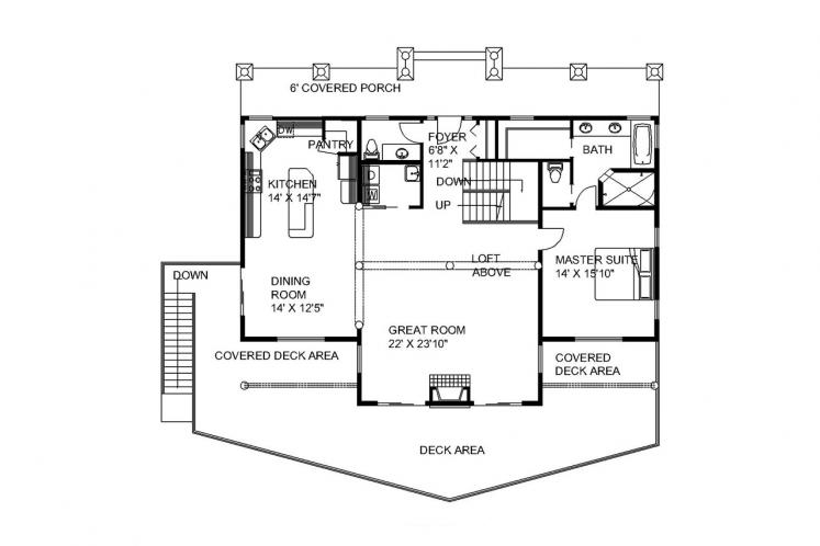 Country House Plan -  34482 - 1st Floor Plan
