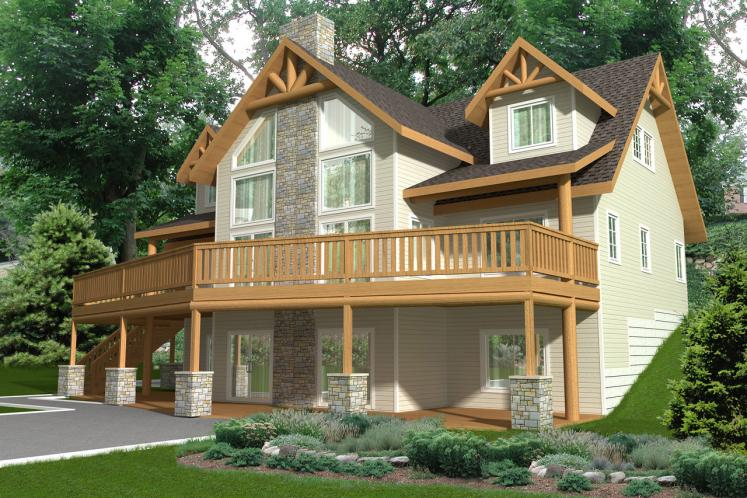 Lodge Style House Plan -  34482 - Rear Exterior