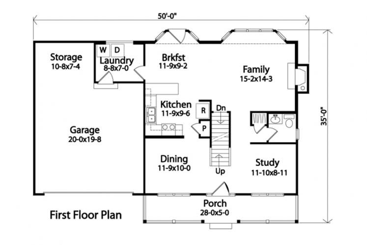 Country House Plan -  34607 - 1st Floor Plan