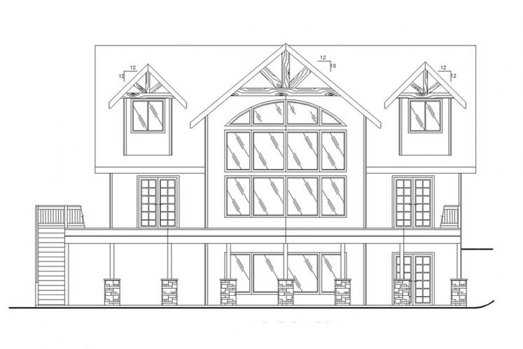 Lodge Style House Plan -  34642 - Rear Exterior