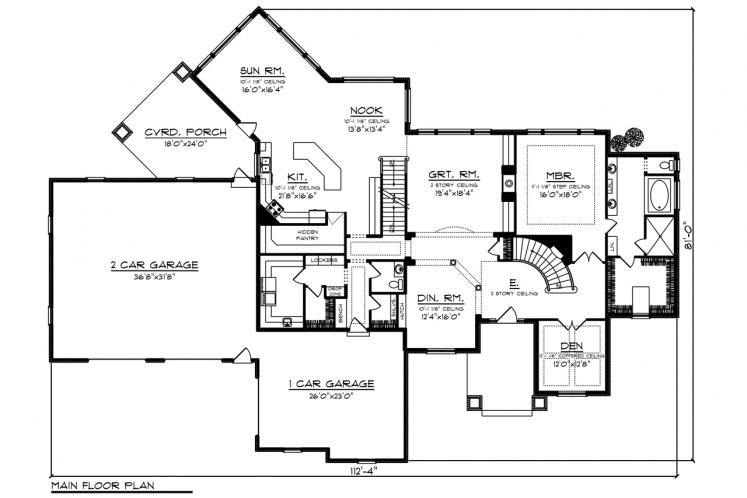 Classic House Plan -  34694 - 1st Floor Plan