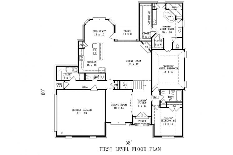 Country House Plan -  35012 - 1st Floor Plan