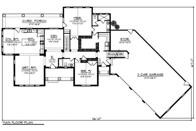 Traditional House Plan -  35042 - 1st Floor Plan