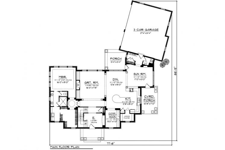 Southern House Plan -  35146 - 1st Floor Plan