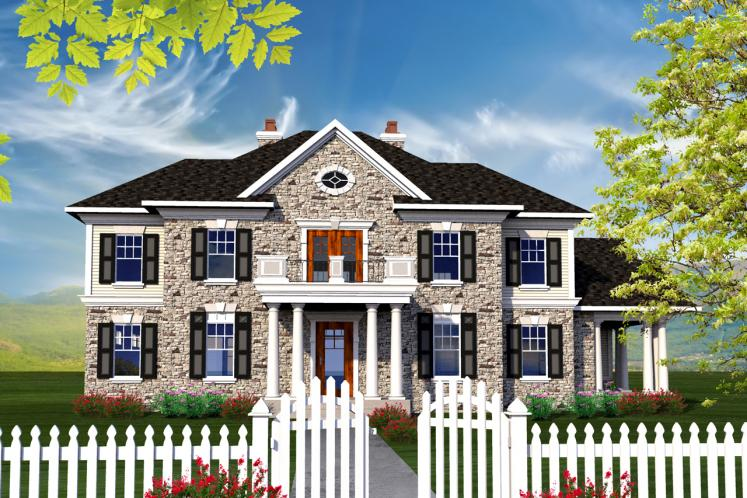 Colonial House Plan -  35146 - Front Exterior