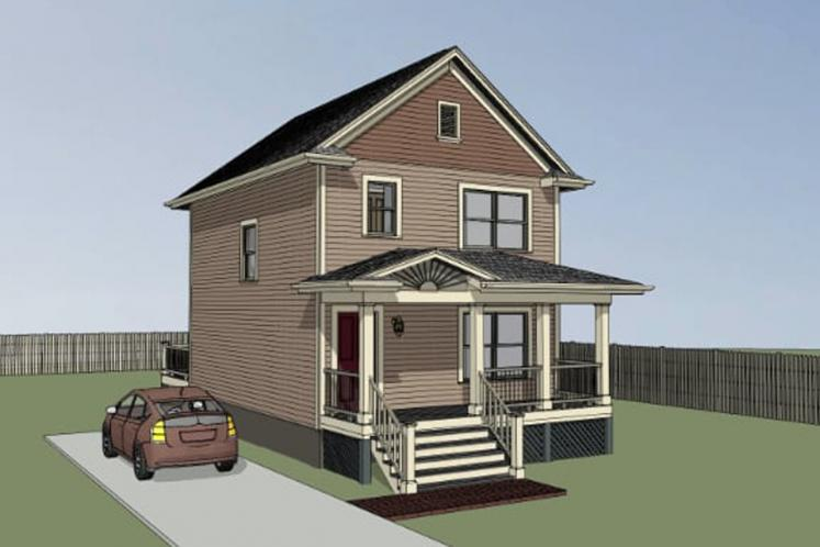 Country House Plan -  35314 - Left Exterior