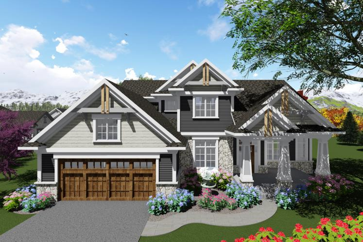 Craftsman House Plan -  35331 - Front Exterior