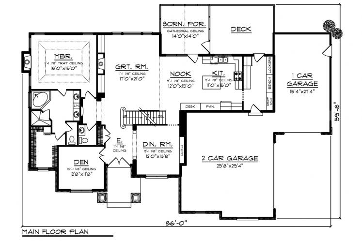 Country House Plan -  35578 - 1st Floor Plan