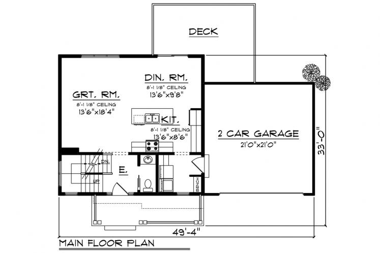 Craftsman House Plan -  35760 - 1st Floor Plan