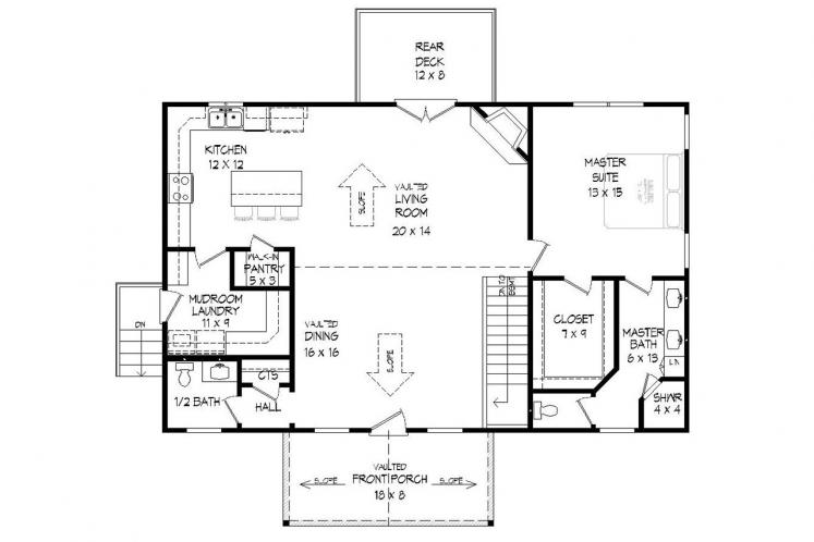 Craftsman House Plan -  36109 - 1st Floor Plan