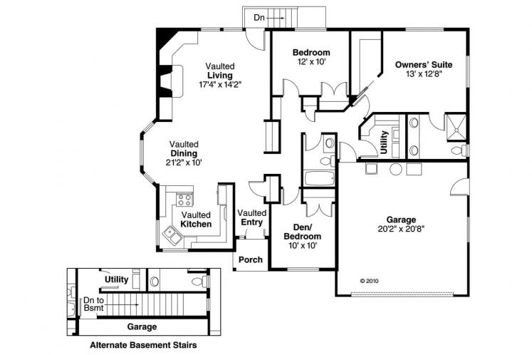 Cottage House Plan - Lander 36171 - 1st Floor Plan