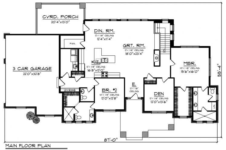 Prairie House Plan -  36485 - 1st Floor Plan