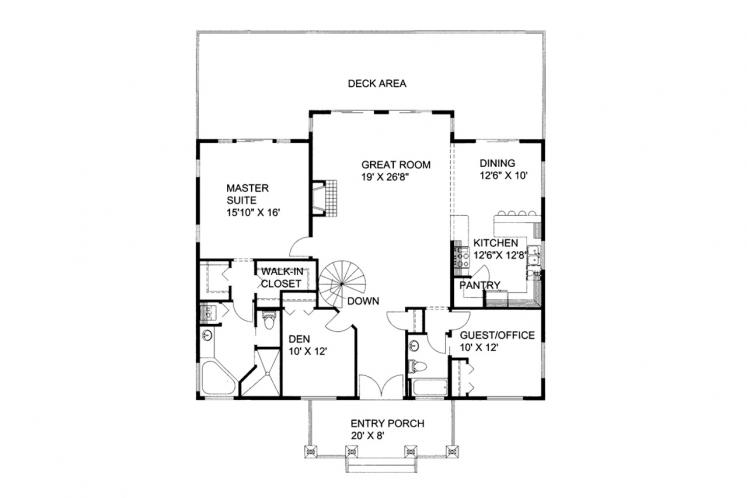Traditional House Plan -  36570 - 1st Floor Plan