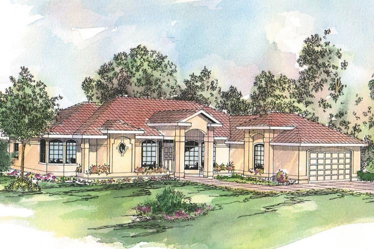Spanish House Plan - Richmond 37093 - Front Exterior