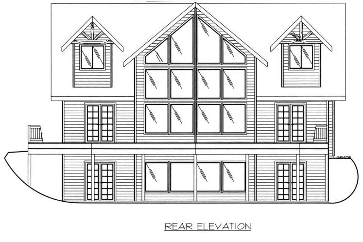 Lodge Style House Plan -  37141 - Rear Exterior
