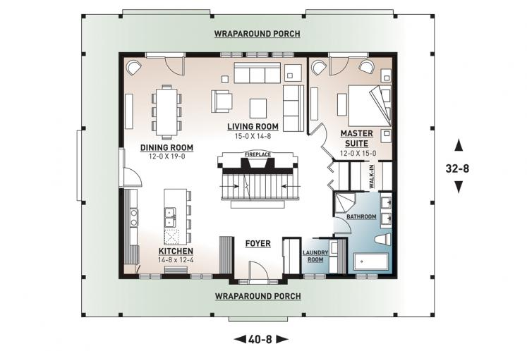 Country House Plan -  37380 - 1st Floor Plan