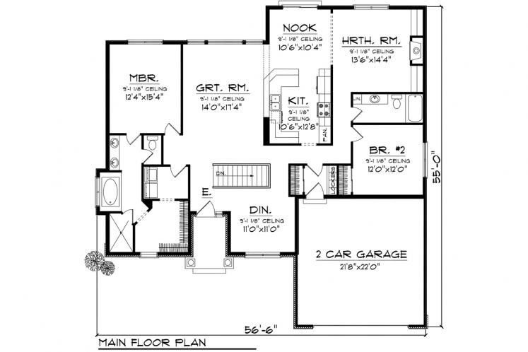 Ranch House Plan -  37406 - 1st Floor Plan