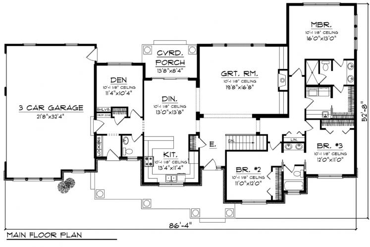 Craftsman House Plan -  37527 - 1st Floor Plan