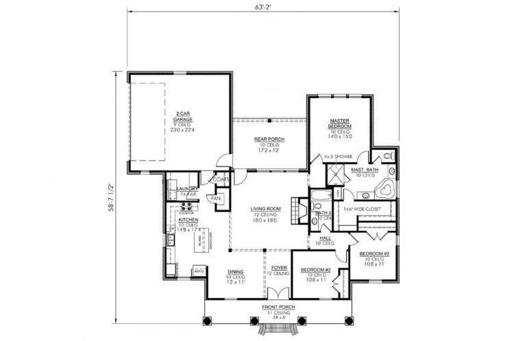Classic House Plan - Laurel 37536 - 1st Floor Plan