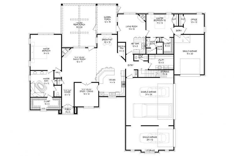 Classic House Plan - Hickory Fields 37860 - 1st Floor Plan