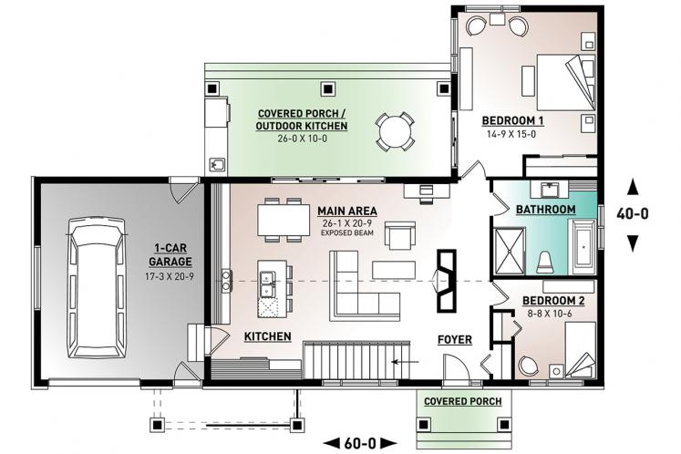 Modern House Plan - Olympe 2 37967 - 1st Floor Plan