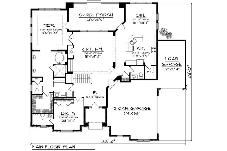 Ranch House Plan -  38290 - 1st Floor Plan