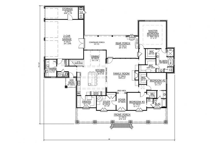 Classic House Plan - Melrose 38382 - 1st Floor Plan